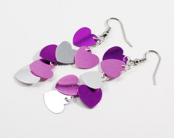 Valentine Heart Earrings Purple Pink Silver Metallic Hearts Dangles Valentine's Day Plastic Sequin Earrings