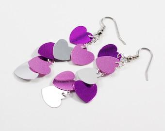 Valentine boucles d'oreilles violet rose argent métallique coeurs Dangles la Saint-Valentin paillettes plastique boucles d'oreilles coeur