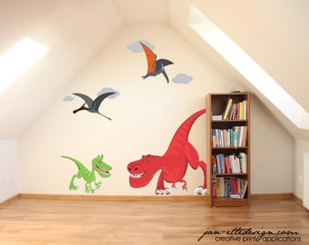 Dinosaur Bedroom Decor,TREX Wall Decal Set,Removable and Repositionable Fabric Wall Stickers,Boys bedroom Decor