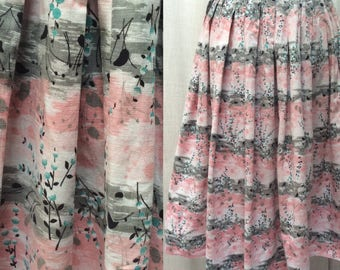 Pretty 1950's Vintage Cotton Skirt in Abstract Floral Blossom Print  UK Size 8 Original Vintage 50's Fifties