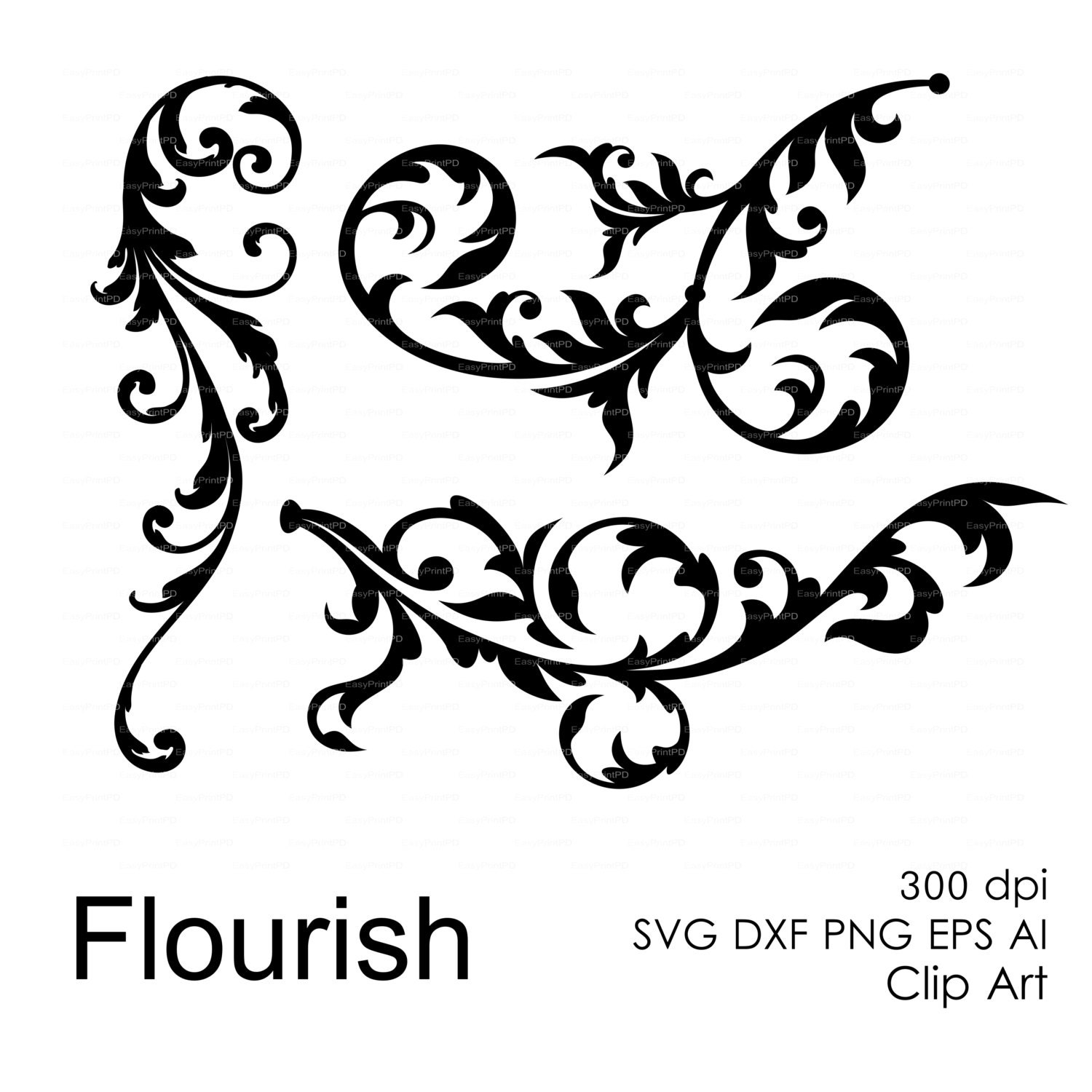 Flourish svg dxf eps ai png Overlays template