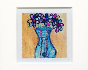 Whimsical Flowers in Blue Vase: Matted Canvas Print of Original Mixed-Media Collage