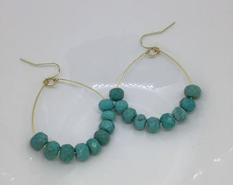 Hoop Earrings / Turquoise Earrings / Large Hoop Earrings / Beaded Hoop Earrings / Boho Earrings / Dangle Earrings / Statement Earrings