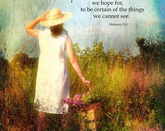 Scripture photographic wall decor, Hebrews 11:1 inspirational Bible verse, journey framable home decor art LemonDropImages