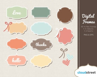 BUY 2 GET 1 FREE Pastel Digital Frames Clip Art - Retro Frames - digital label clipart - vector label clip art - commercial use ok