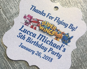 Super wings birthday party, Jett, dizzy, donnie birthday favor tags, birthday party favors, airplane favor tag, airplane birthday