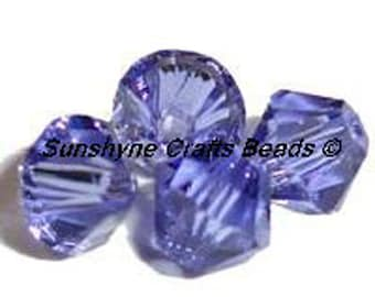Swarovski Crystal Beads 5328 TANZANITE Xilion Faceted Bicone Beads - Sizes 4mm,6mm & 8mm available