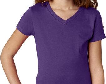 Girl's USA American Waving Flag Patch Bottom Print T-Shirt WAVING-BO-2607