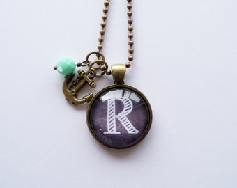 Custom Initial Pendant Necklace - Chalkboard Letter - One Inch Circle Pendant - Black and White Monogram - Alphabet Jewelry - Charm and Bead