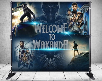 Black Panther Backdrop Banner Stand - Custom - Personalized