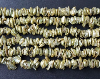 Center Drilled yellow Green Keishi Freshwater Pearls - 15 Inch Strand