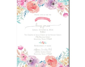 Floral LDS Baby Blessing Invite Printable