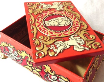 Vintage Fricke & Nacke West Germany Tin Treasure Chest Victorian Cherubs Mavis Red Gold