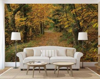Wall Mural Woods, Yellow Trees Wall Mural, Autumn Wall Decal, Woods Autumn, Wallpaper Trees