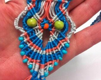 Owl pendant necklace Boho necklace Micromacrame necklace