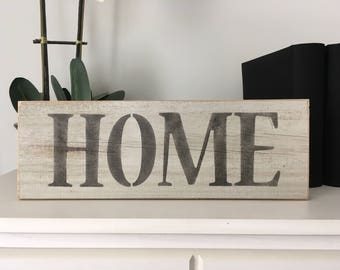 Reclaimed wood HOME sign, recycled wood home sign, weathered home sign, hand painted home sign, hand painted home sign on relclaimed wood