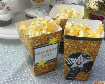 Printable Hollywood Party, Hollywood Birthday, Hollywood Party Decorations, Hollywood Party Popcorn Box