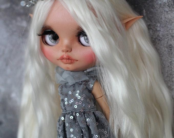 Amandine elf Blythe doll custom OOAK with mohair weft, birthday gift, present