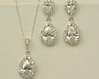 Crystal Wedding Jewelry Set for Bridesmaid, Crystal Bridesmaid Necklace and Earrings, White wedding Jewelry, MP1
