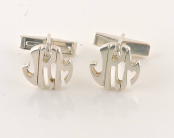 "Sterling Silver Round Inital Cuff Links ""JKM"""