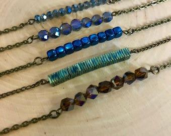 Bronze Beaded Bar Necklaces