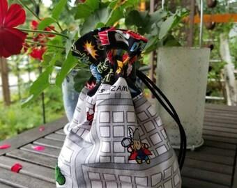 Marvel Chibi Avengers Nick Fury Thor Falcon drawstring bag