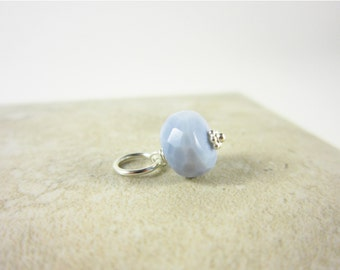 Sterling Silver Charms - Light Blue Peruvian Opal Pendant - Something Blue Opal Charm - Blue Opal Jewelry Handmade - Natural Stone Jewelry