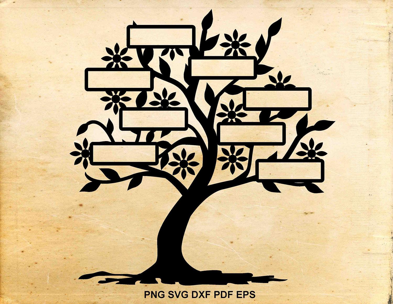 Family tree svg 8 names, Tree clip art, Tree cutting files, Cut ...