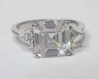 Asscher Cut Engagement Ring | Asscher Cut Bridal Engagement Ring | Asscher Cut Ring | Asscher Cut Wedding Engagement Ring | Size 7