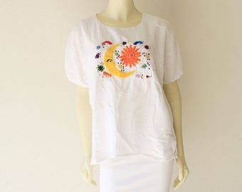 70's Vintage Sun Moon Stars Hand Embroidered Cotton Gauze Boho Festival Tunic