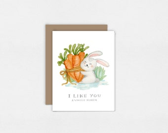 Bunny and Carrots | I Like You a Whole Bunch | Greeting Card | Watercolor Art Print | Valentine's Day | 5x7