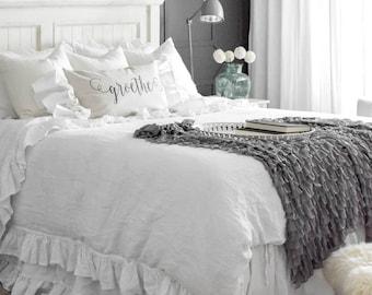 King size linen bed skirt-Ruffled bed skirt-Softened linen dust ruffle-Linen bedskirt-Linen bedding-Choose the drop #Summer Waves#