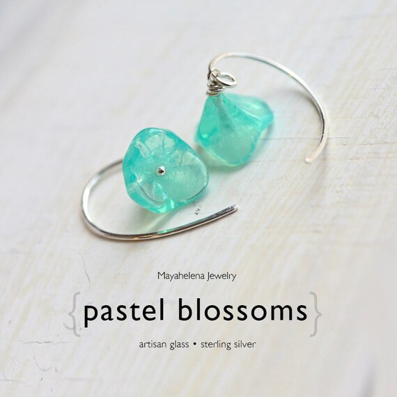 Pastel Blossoms  - Mint Green Artisan Glass Sterling Silver Dangle Earrings