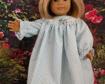 Blue Flannel Nightgown fits 18 Inch Dolls