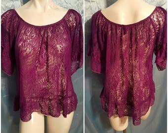 OOAK by SuElles-Purple dyed lace tunic-Asymmetrical-Size medium-Ruffled lace-Salvaged-Altered Couture-Remade-Feminine-Summer-Concert-PURPLE