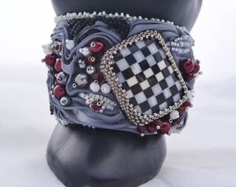 OOAK Queen of Hearts Shibori Ribbon and Beadwoven Bracelet Silver Grey Shibori Ribbon, Checkerboard Swarovski and Pearls Birthday Gift