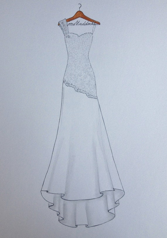 Custom wedding dress drawing on hanger with name original
