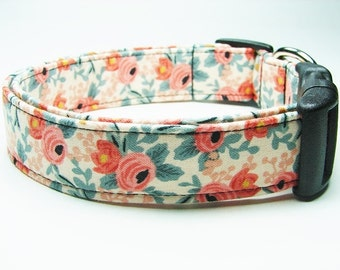 Rosa Peach by Rifle Paper Co, Les Fleurs Collection for Cotton and Steel Dog Collar