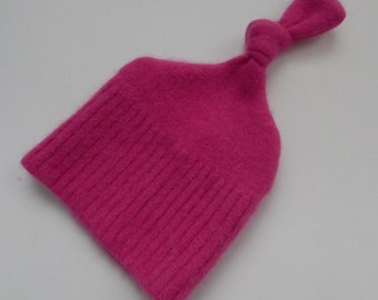 Recycled Pink Cashmere Baby Hat - 0-3 months