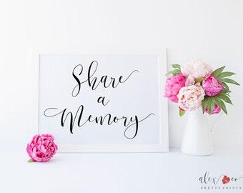 Share a Memory Printable. Wedding Sign. Wedding Printables. Wedding Signage. Wedding Signs Printable.