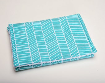 Burp Cloth - Aqua Herringbone