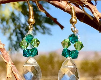 Sparkelled blue and green winter and blue and green hoops with pearls earrings