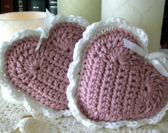 Dusty Pink Stuffed Heart Decor – Shabby Cottage Chic Victorian Crochet Heart Decoration - Valentine Gift