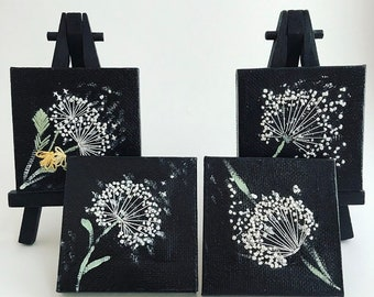 Floating Dandelions Set || Miniature Canvas Art || Hand Embroidery on Painting || Black & White Home Decor