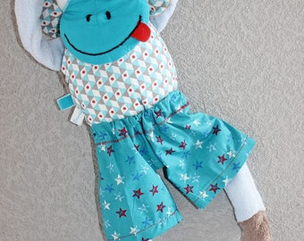"""Momo"" fabric and soft blue minky monkey blanket. 54 cm"