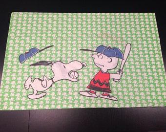 Vintage Charlie Brown & Snoopy Baseball Pillowcase