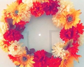 Vintage Fall flowers wreath