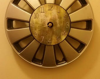 "15.5"" Hubcap clock finished with numbers"