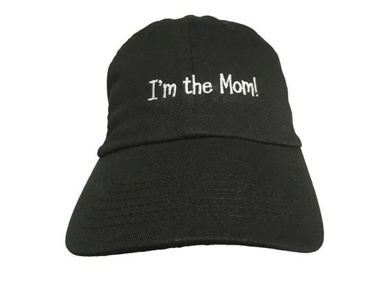 I'm the Mom! - Polo Style Ball Cap (Black with White Stitching)