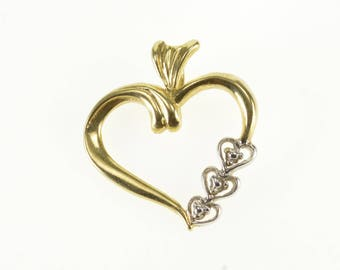 14k Heart Two Tone Accented Wavy Curvy Pendant Gold